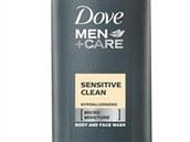 Hypoalergenn� sprchov� gel pro citlivou poko�ku, Dove Men+Care Sensitive Clean, 250 ml, info o cen� v s�ti drogeri�.