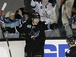 Šťastný úsměv Tomáše Hertla po gólu do branky Bostonu.