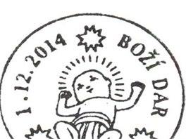 Letošní vánoční razítko znázorňuje malého Ježíška v plenkách.