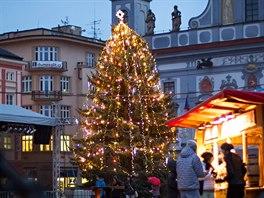 Vánoční strom v centru Českých Budějovic