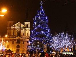 Vánoční strom v centru Jihlavy