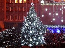 Vánoční strom v centru Ústí nad Labem