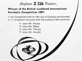 Výsledků akrobatických soutěží využíval k reklamě podnik zahraničního obchodu Omnipol.