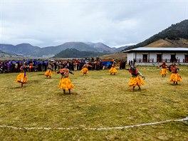 Rituální tanec v maskách je jedním z vrcholů ročního festivalu v údolí Phobjikha.
