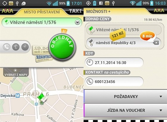 Mobilní aplikace AAA TAXI