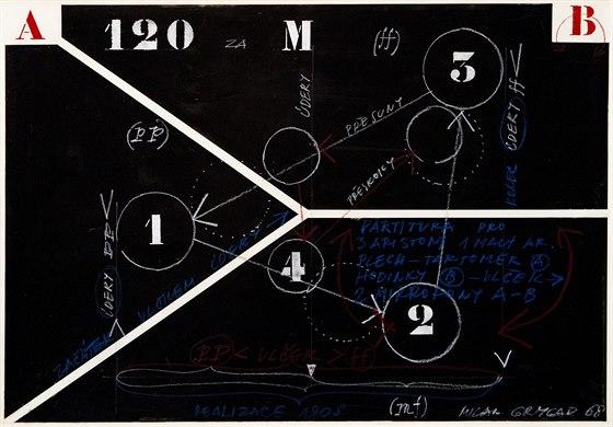 Milan Grygar: Černá partitura pro 3 aristony a 1 malý ariston (1968)