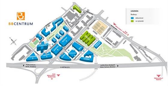Plánek BB Centra, které je projektem developerské společnosti Radima Passera.