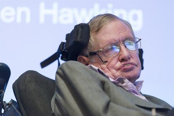 Stephen Hawking ovládá počítač pomocí aktivace obličejových svalů.