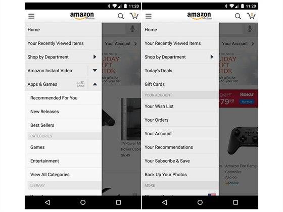 Vlevo původní nabídka Amazon App včetně sekce Apps & Games, vpravo pak současná podoba