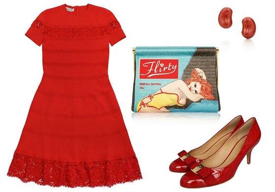 Rudé šaty s krajkovými lemem Valentino, prodává Pařížská 17, 49 210 Kč; červené lodičky z lesklé kůže s mašlí, Salvatore Ferragamo, 10 950 Kč; vyšívané psaníčko Charlotte Olympia, prodává Net-a-porter, 1 075 eur; náušnice z červeného jaspisu Elsa Peretti, Tiffany, 7 250 Kč