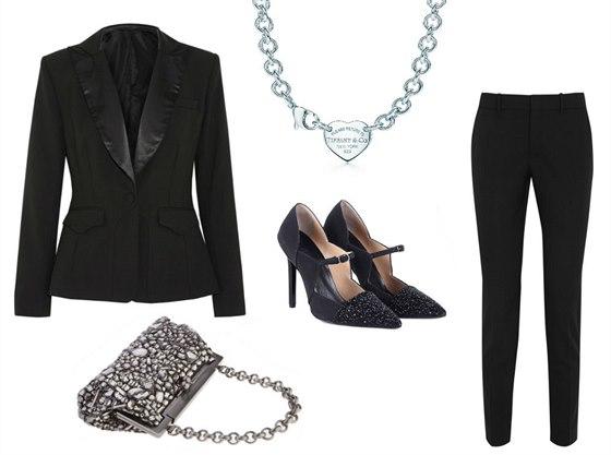 Černé smokingové sako Altuzarra for Target, prodává Net-a-porter, 66 eur; černé kalhoty s vysokým pasem, Gucci, 14 050 Kč; kabelky vyšívaná křišťály, Dolce&Gabbana, 56 810 Kč; černé lodičky s korálkovou výšivkou, Georges Hobeika, 850 eur; stříbrný náhrdelník s přívěskem, Tiffany, 12 600 Kč