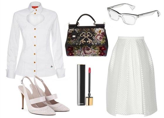 Bílá košile se srdcovým výstřihem Vivienne Westwood, prodává DUSNI3, 9 490 Kč; bílá sukně v délce pod kolena, Burberry London, info o ceně v butiku; kabelka Sicily z vyšívaného sametu, Dolce&Gabbana, 85 970 Kč; transparentní brýlové obroučky Alain Mikli, prodává Žilka Optik Studio, 13 500 Kč; bílé lodičky, Georges Hobeika, 850 eur; červený lesk na rty Rouge Allure Gloss v odstínu Pirate, Chanel, 1 000 Kč