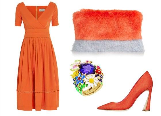 Oranžové šaty ze strečového krepu Preen by Thornton Bregazzi, prodává Net-a-porter, 1 075 eur; psaníčko z umělé kožešiny, Shrimps, 229 eur; oranžové lodičky, Dior, info o ceně v butiku; prsten Diorette ze žlutého zlata s masivním ametystem, Dior, info o ceně v butiku