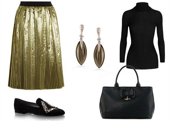 Plisovaná sukně ze zlatého lamé REDValentino, prodává Net-a-porter, 450 eur; černý kašmírový rolák, Gucci, 15 800 Kč; sametové mokasíny, Louis Vuitton, 24 900 Kč; náušnice z růžového zlata s diamanty, ALO, 43 250 Kč; černá kabelka Vivienne Westwood, prodává DUSNI3, 7 590 Kč