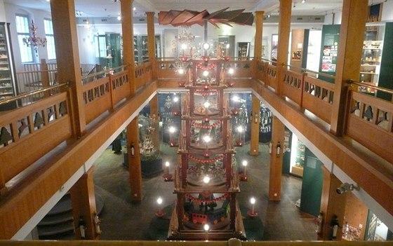 Seiffen, pohled do Krušnohorského muzea hraček