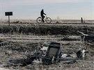 Trosky maljsijského boeingu u obce Hrabove na východě Ukrajiny (15. prosince 2014)