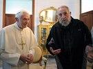 Papež Benedikt XVI. a Fidel Castro se v roce 2012 setkali v Havaně.