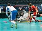 Brankář dánské reprezentace Wede předvedl v souboji s českým týmem několik výborných zákroků.