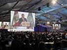 Prezident Peru Ollanta Humala během vystoupení na klimatické konferenci v Limě.