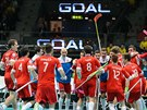 Čeští florbalisté slaví gól proti Finsku v semifinále mistrovství světa.