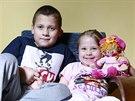 Sedmiletý Pepík Příhoda se svou tříletou sestrou Aničkou Příhodovou.
