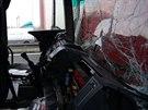 Na Jižní spojce se dopoledne srazily tři kamiony (16. prosince 2014).