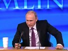 Rusk� prezident Vladimir Putin na tiskov� konferenci o roku 2014. (18. prosince 2014)