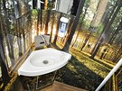 RegioJet na Slovensku nasazuje stejně jako v Česku na záchody orchideje, ŽSSK přišla s úplně jiným modelem. Toaletu v jednom z vozů otapetovala obrázky lesa a z reproduktoru se lince cvrlikání ptáků.