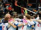 Čeští florbalisté se radují ze zisku bronzu na mistrovství světa.