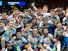Čeští florbalisté se radují z bronzových medailí na mistrovství světa.