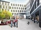 Pěší zóna uvnitř komplexu budov podle vítězného návhru nového objektu, který bude stát na místě dnešního hotelu Černigov v Hradci Králové (9.12.2014).