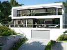 Dominantou hlavního průčelí domu je předsazený bílý rám, který v horním podlaží přechází ve slunolam.