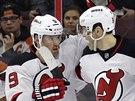 Gólová radost hokejistů New Jersey: (zleva) Jon Merrill, Martin Havlát, Jaromír Jágr a Scott Gomez.