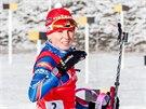 �esk� biatlonistka Eva Puskar��kov� p�i sprintu v Hochfilzenu.
