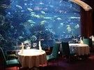 Akvárium s milionem litrů vody jako unikátní dekorace luxusní restaurace v dubajském hotelu Burdž Al Arab.