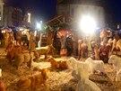 Panoramatická fotka betlému na nám�stí v Plzni