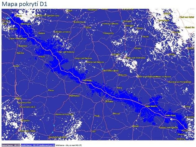 Mapa pokrytí dálnice D1 rychlým mobilním internetem O2 4G LTE