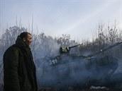 Tank proruských separatist� u obce Rozsypne v Donbasu (15. prosince 2014)