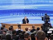 Ruský prezident Vladimir Putin p�i výro�ním projevu (18. prosince 2014)