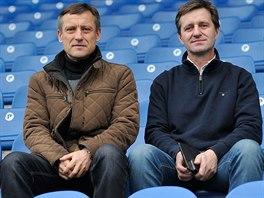 Ji�� Kotrba (vlevo) a Josef Csapl�r, nov� tren��i fotbalist� Liberce.