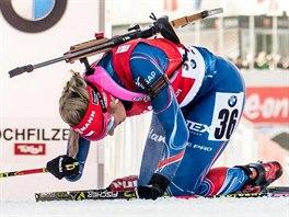 Česká biatlonistka Gabriela Soukalová po sprintu v Hochfilzenu.