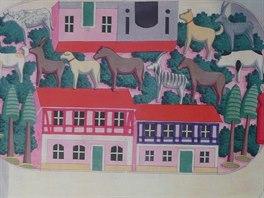 Seiffen, muzeum hraček. Historický nákres pro řezbáře - akvarel se stavebnicí z poloviny 19. století