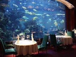 Akvárium s milionem litrů vody jako unikátní dekorace luxusní restaurace v dubajském hotelu Burdž Al Arab. Foto: Libor Budinský