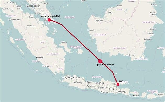 Trasa letu stroje A320-200 AirAsia