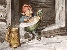 Norský vánoční skřítek Tomte na dobové ilustraci