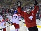 Čeští hokejoví junioři na MS dostali gól od Švýcarska, raduje se Kevin Fiala.