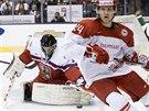 ZÁSAH BETONEM. Český gólman Vítek Vaněček takto uspěl po střele dánského hokejisty Nikolaje Ehlerse v utkání na MS do 20 let v Torontu.