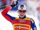 Marit Björgenová vítězí ve sprintu Světového poháru v Davosu.