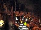 Požár rodinného domu ve Vanovicích na Blanensku (23. prosince 2014).