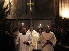 Kardinál Dominik Duka odsloužil Půlnoční mši svatou v pražské katedrále sv. Víta (25. prosince 2014).